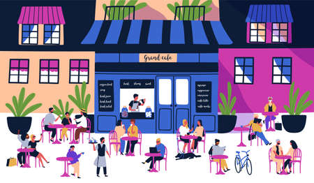 Many tiny people sitting at outdoor sidewalk cafe, coffeehouse or restaurant with tables, chairs on city street against building facades on background. Colorful illustration in modern flat style