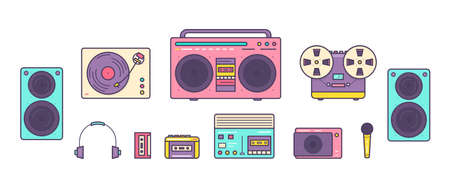 Bundle of retro analog music players, reel-to-reel and cassette recorders, turntable, headphones, mic, loudspeakers isolated on white background. Set of devices from 90s. Colored vector illustration Illusztráció
