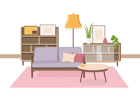 Comfy interior of living room full of Soviet furniture and retro home decorations - cozy couch, coffee table, houseplants, cupboard, floor lamp, radio receiver. Vector illustration in flat style