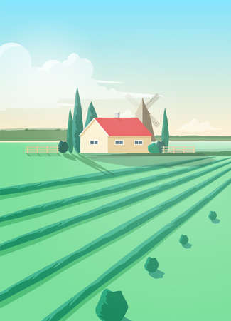 Vertical countryside landscape with agricultural building or house and plowed green field against windmill and sky with clouds on background. Natural pastoral scenery. Colored vector illustration