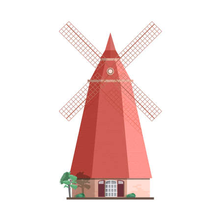 Traditional Dutch windmill isolated on white background. Smock, tower or post mill. Agricultural building or structure with rotating sails or blades. Colorful vector illustration in flat style.