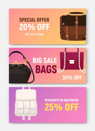 Bundle of horizontal banner, coupon or voucher templates with trendy elegant bags and handbags of different types and place for text. Colored vector illustration for shop or store sale promotion.