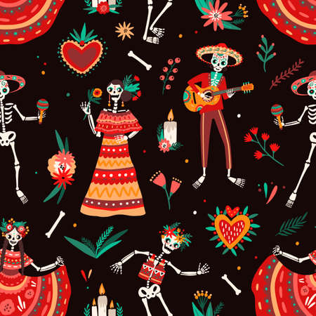Day of The Dead motley seamless pattern with skeletons dressed in traditional Mexican clothes playing guitar and dancing. Vector illustration in flat cartoon style for national holiday celebration.