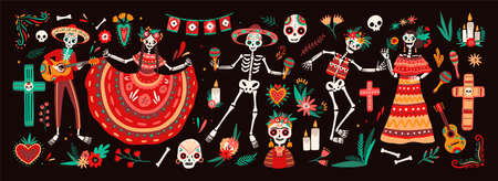 Collection of traditional Day of The Dead symbols - skeletons dressed in folk Mexican costumes playing guitar, maracas or dancing, calaveras or skulls, cross and candles. Holiday vector illustration.