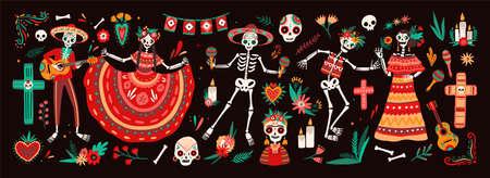 Sammlung traditioneller Symbole für den Tag der Toten - Skelette in mexikanischen Volkskostümen, die Gitarre, Maracas oder Tanzen, Calaveras oder Schädel, Kreuz und Kerzen spielen. Urlaub-Vektor-Illustration.