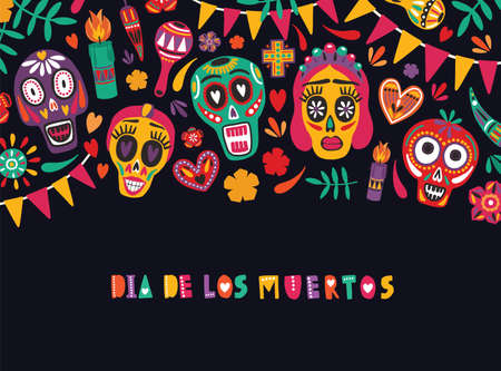 Horizontal banner template with Dia De Los Muertos inscription decorated with flag garlands, colorful Mexican calaveras or skulls, candles. Holiday vector illustration for Day of The Dead postcard