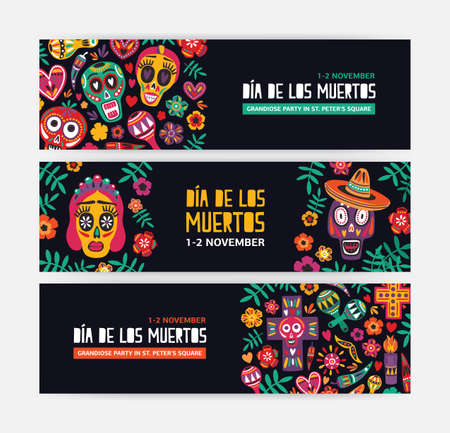 Collection of horizontal web banner templates decorated with Mexican calaveras or skulls, flowers and candles. Festive vector illustration for Day of The Dead party announcement, event celebration Illustration