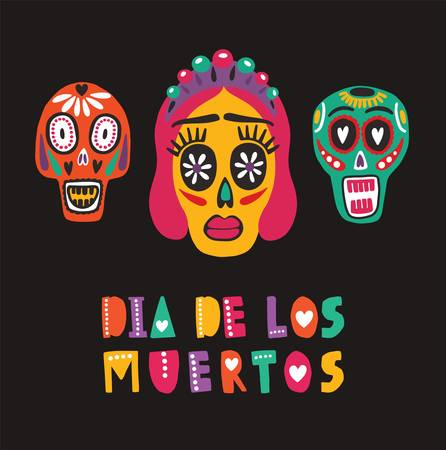 Bright colored decorative composition with Dia De Los Muertos inscription, Mexican calaveras or skulls, Catrinas face. Festive vector illustration for Day of The Dead, cultural event celebration
