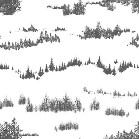 Patrón sin fisuras con árboles y arbustos del bosque dibujados a mano que crecen en colinas o montañas. Telón de fondo en colores blanco y negro con paisaje natural. Ilustración de vector para impresión textil, papel tapiz