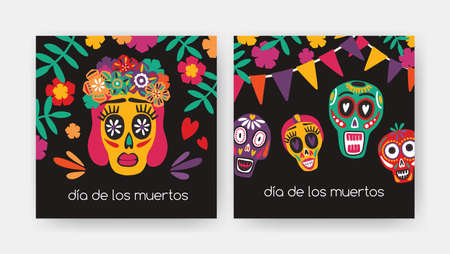 Bundle of square cards with Dia De Los Muertos inscription, Mexican calaveras or sugar skulls, Catrinas face on black background. Holiday vector illustration for Day of The Dead party invitation