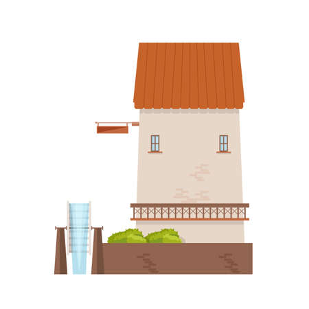 Watermill with brick walls and wheel isolated on white background. Old water mill. Farming structure with rotating mechanism. Countryside building. Colored vector illustration in flat cartoon style.
