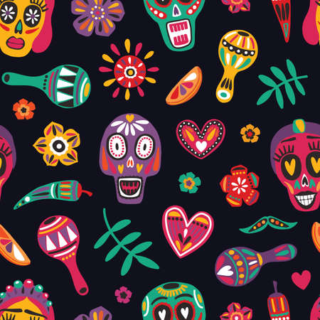 Festive seamless pattern with decorative skulls, Catrina's face, flowers, chili peppers, maracas on black background. Bright colored holiday vector illustration for Dia de los Muertos backdrop