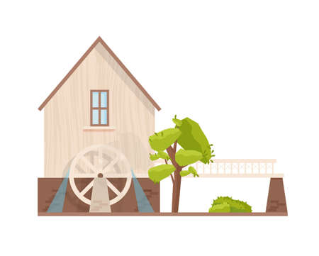 Facade of watermill with rotating wheel isolated on white background. European water mill. Farm structure for agricultural production. Village building. Vector illustration in flat cartoon style.