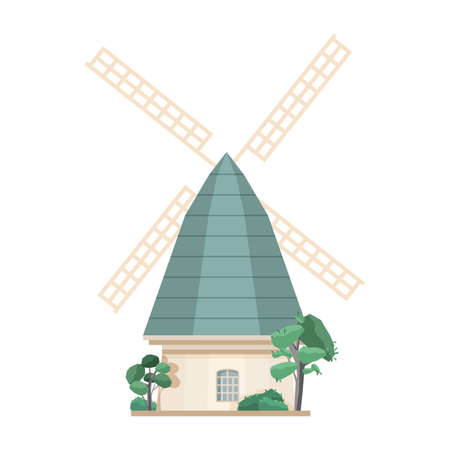 Windmill isolated on white background. Old European post mill. Farm structure or construction for agricultural production. Countryside building. Colored vector illustration in flat cartoon style.