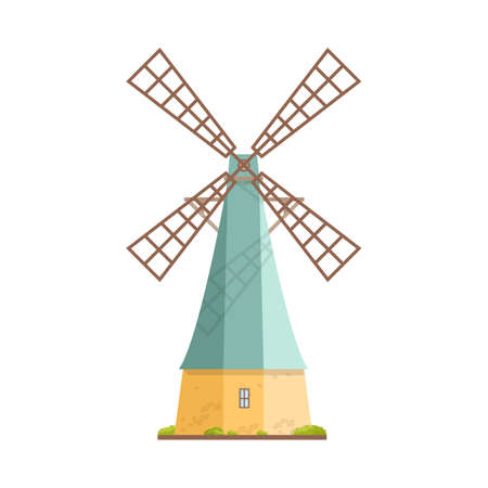 Old windmill isolated on white background. Dutch smock or tower mill. Agricultural construction with rotating mechanism. Countryside building. Colorful vector illustration in flat cartoon style. Reklamní fotografie - 111504533