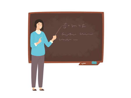 Happy young female college teacher, university professor, lecturer or educational worker standing beside chalkboard, holding pointer and teaching. Colorful vector illustration in flat cartoon style