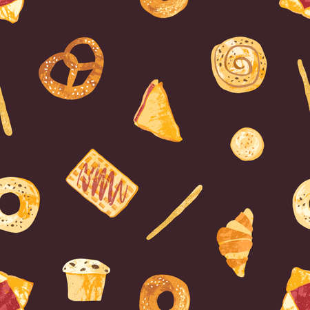 Colored seamless pattern with tasty fresh baked products and homemade sweet pastry or desserts made of dough on dark background. Vector illustration for textile print, backdrop, wrapping paper Çizim