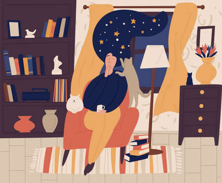 Young girl with closed eyes and night starry sky or space instead of hair sitting in chair and dreaming or daydreaming. Fantasy and imagination. Colorful vector illustration in flat cartoon style. Reklamní fotografie