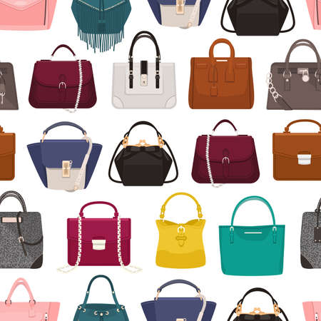 d4ef600c Colorful seamless pattern with elegant womens bags or handbags of various  types on white background.