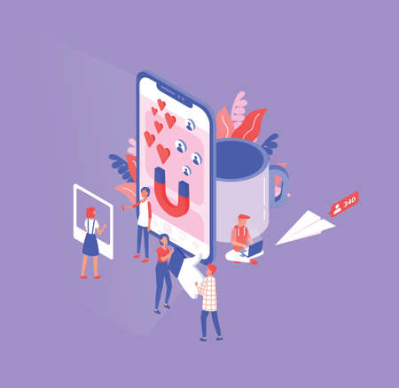 Isometric composition with tiny men and women and giant smartphone, cup and paper plane. Social media and network tools for internet marketing, promotion. Modern colored vector illustration.
