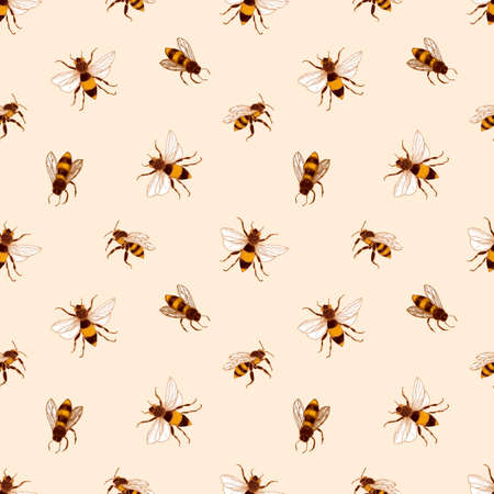 Elegante motivo senza cuciture con api mellifere su sfondo chiaro. Sfondo di apicoltura o apicoltura. Illustrazione vettoriale disegnata a mano colorata in stile antico retrò per carta da imballaggio, stampa su tessuto.