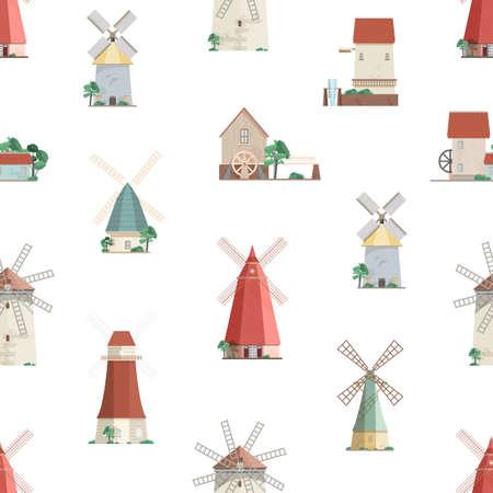Buntes nahtloses Muster mit Wassermühlen und Windmühlen auf weißem Hintergrund. Kulisse mit alten europäischen Wind- und Wassermühlen. Vektor-Illustration im flachen Cartoon-Stil für Geschenkpapier, Tapeten Vektorgrafik