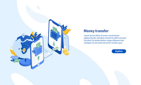 Horizontal web banner template with pair of smartphones, globe, flying paper plane and place for text. Secure and fast international electronic money transfer service. Isometric vector illustration