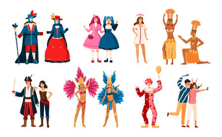 Collection of smiling men and women dressed in various festive costumes for holiday masquerade, Venetian or Brazilian carnival, home theme party. Colorful vector illustration in flat cartoon style Ilustrace