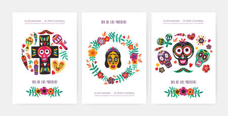 Bundle of flyer, poster or party invitation templates with Mexican calaveras or skulls, Catrinas face, cross, flowers and candles. Motley vector illustration for Day of The Dead festival promotion