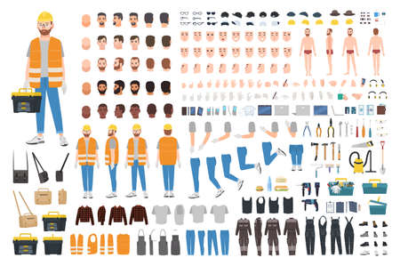 Werknemer of reparateur DIY kit. Collectie van mannelijke stripfiguur lichaamsdelen, gezichtsuitdrukkingen, gebaren, kleding, werkinstrumenten geïsoleerd op een witte achtergrond. Kleurrijke platte vectorillustratie