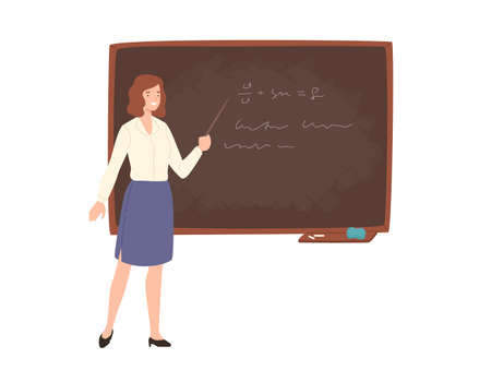 Smiling young female school or college teacher, professor, education worker standing beside chalkboard, holding pointer and giving lecture. Colored vector illustration in flat cartoon style.