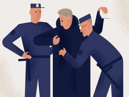 Two policemen dressed in uniform holding search male suspect or criminal. Man inspected by pair of police officers. Legal procedure, law enforcement. Flat cartoon characters. Vector illustration. Stock Photo