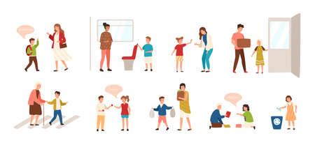 Collection d'enfants bien élevés isolé sur fond blanc. Ensemble d'enfants faisant preuve de bonnes manières - porte ouverte, aidant la vieille dame à traverser la route, offrant un siège à une femme. Illustration vectorielle Vecteurs