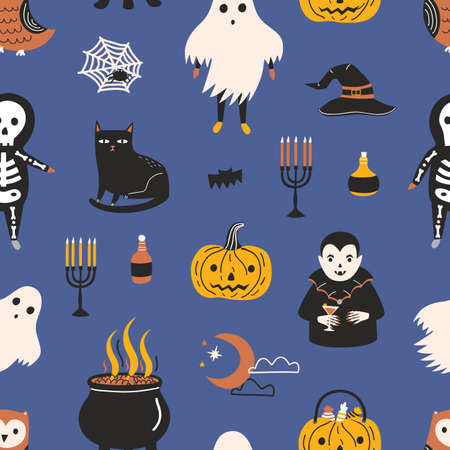 Holiday seamless pattern with funny scary magic characters and items on dark background - ghost, skeleton, vampire, Jack-o-lantern, witch hat and pot, crescent moon. Halloween vector illustration  イラスト・ベクター素材