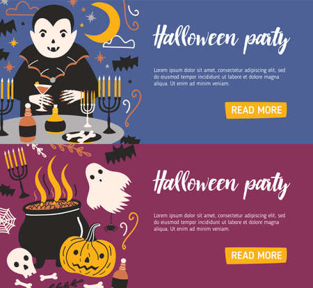 Bundle of horizontal web banner templates with vampire drinking blood from glass and other evil creatures. Colorful vector illustration in flat cartoon style for Halloween party announcement, promo