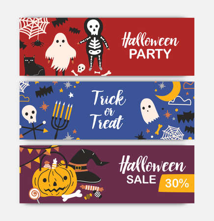 Collection of horizontal holiday web banner templates with Halloween characters. Colorful vector illustration in flat cartoon style for party announcement, festive sale promotion or advertisement.