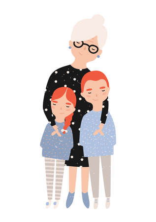 Cute smiling grandmother cuddling her grandson and granddaughter. Portrait of granny and grandchildren. Adorable cartoon characters isolated on white background. Colorful flat vector illustration Vektorové ilustrace