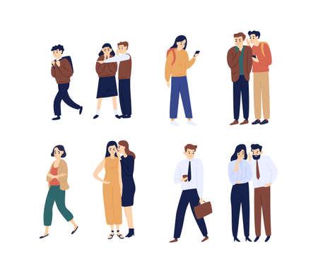 Sammlung von Männern und Frauen, die klatschen, Gerüchte verbreiten, reden und flüstern. Bündel lustige Zeichentrickfiguren auf weißem Hintergrund. Helle farbige Vektorillustration im flachen Stil