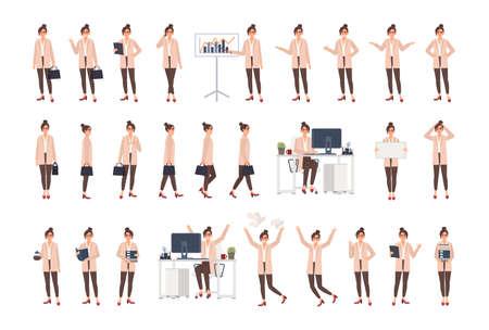 Junge weibliche Büroangestellte, die intelligente Kleidung in verschiedenen Positionen, Stimmungen, Situationen tragen und verschiedene Emotionen ausdrücken. Flache Zeichentrickfigur isoliert auf weißem Hintergrund. Vektor-Illustration