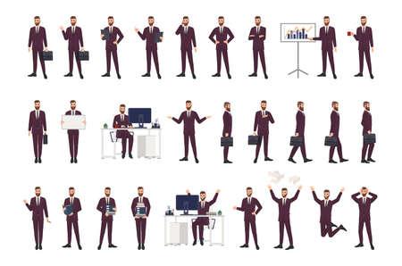 Männlicher Büroangestellter, Angestellter oder Manager mit Business-Anzug in verschiedenen Positionen, Stimmungen und Situationen. Flache Zeichentrickfigur isoliert auf weißem Hintergrund. Moderne bunte Vektorillustration Vektorgrafik