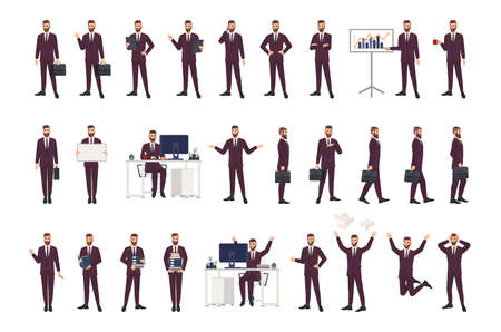 Male office worker, clerk or manager wearing business suit in various positions, moods and situations. Flat cartoon character isolated on white background. Modern colorful vector illustration