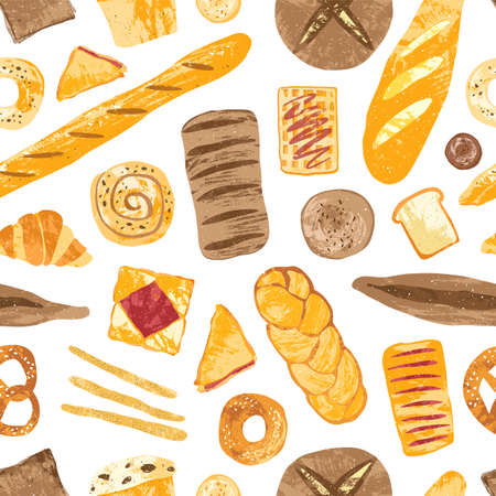 Colorful seamless pattern with tasty homemade baked breads, buns, baguettes, bagels, croissants, pretzels, toasts and wafers on white background. Vector illustration for textile print, wallpaper Çizim