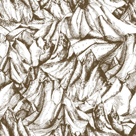 Seamless pattern with mountainous landscape hand drawn with contour lines on white background. Backdrop with cliffs or mountain range. Vector illustration in retro etching style for wrapping paper Çizim