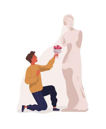 Junger Mann, der auf einem Knie steht und der Statue der Frau Blumenstrauß überreicht. Konzept der Idealisierung des Partners, unerwiderte Liebe, blinde Zuneigung. Bunte Vektorillustration im flachen Stil Vektorgrafik