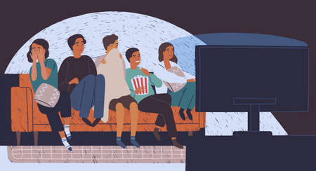 Group of friends sitting on sofa or couch in darkness and watching horror movie. Young girls and boys with scared faces look at TV screen. Colorful vector illustration in flat cartoon style. Stock Photo