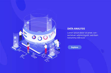 Creative web banner template with tiny people standing around giant integral circuit, charts, diagrams and graphs on virtual screen. Big data analysis, statistical analytics. Vector illustration.