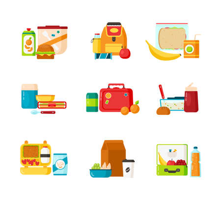 Collection of lunch boxes for kids isolated on white background. Bundle of containers for childrens breakfast food or healthy meals storage. Colorful vector illustration in flat cartoon style Illustration
