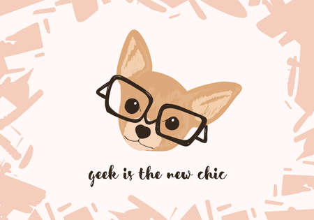 Head of adorable dog wearing glasses and Geek Is The New Chic slogan or phrase handwritten with elegant cursive font. Funny doggy or puppy. Colorful vector illustration for t-shirt or apparel print Illustration