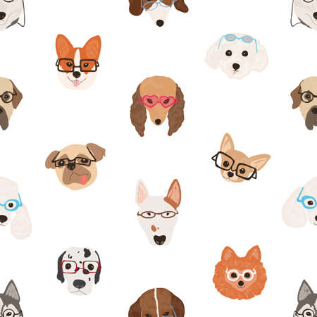 Colorful seamless pattern with faces of dogs wearing glasses or sunglasses on white background. Backdrop with smart puppies. Modern decorative vector illustration for textile print, wrapping paper