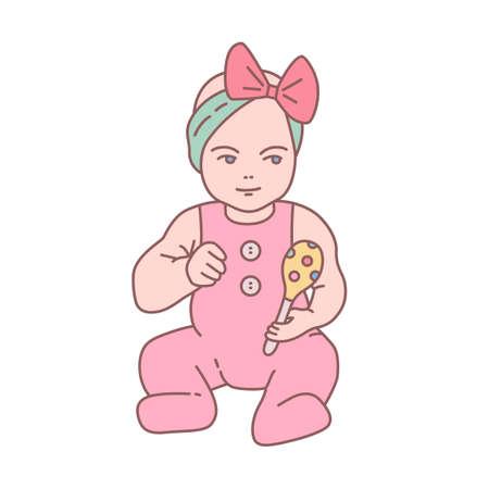 Hübsches neugeborenes Baby im Strampler, das Rassel sitzt und hält. Schönes kleines Kind oder Kleinkind mit Spielzeug isoliert auf weißem Hintergrund. Farbige Vektorillustration im modernen linearen Stil Vektorgrafik